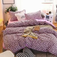 4PCS Leopard-print Pink Bedding Set Duvet Quilt Cover+Sheet+Pillow Cases HOT
