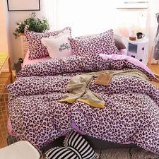 Leopard-print Pink Bedding Set Duvet Quilt Cover+Sheet+Pillow Case Four-Piece