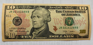 2009 Series $10 Notes K11 District, Just Like Uncirculated, S# JK 02141289 B