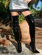 Erogance Lack Stretch Overknee Stiefel Schwarz Gr. 37 - 46 NEU 10907A High Heels