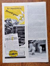 1944 Pennzoil Oil Ad  Firemen Fire truck Theme