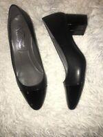 A2 Aerosoles Silver Spoon Cap Toe Heels Black Faux Patent Pumps sz 8 new