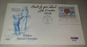 John Wooden UCLA Signed Special Olympic Envelope 1985 Postmarked Stamp (PSA COA)