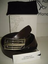 "$295 NEW Versace Collection Mens Brown Leather 46"" Belt Remove Buckle Resizable"