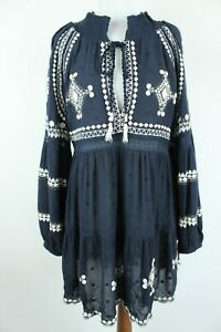Free People BNWT Marine Brodé Manches Longues Col V Femme Robe Pointure Eu S/M