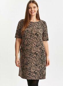 Evans Crocodile Snake Animal Print Tunic Loose Fit Dress, Plus Size UK14 - UK32