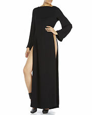 Ann Demeulemeester Long Black Dress with High Slits Sz 36 NEW $1226