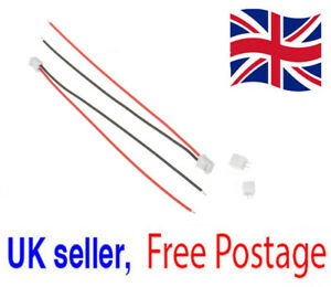 2x Mini Micro JST 2.0 PH 2 Pin Connector Plugs, 115mm Cables & Sockets UK Seller