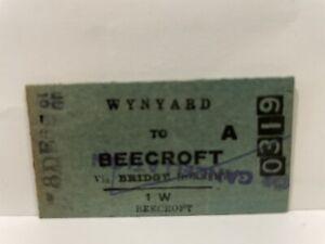 NSWGR Railway Ticket Wynyard To Beecroft via Bridge