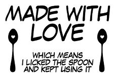 Made With Love Licked The Spoon Kitchen Cake Pan Vinyl Decal Sticker