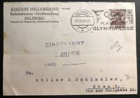 1936 Salzburg Austria Typewriter Postcard Cover To Vienna Olympic Cancel