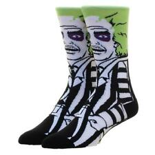 BEETLEJUICE MOVIE 360 KNIT MENS CHARACTER POSE ALL OVER PRINT CREW SOCKS RETRO