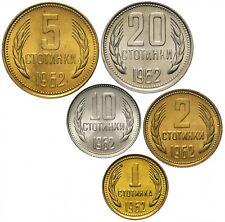 ✔ Bulgaria 1 2 5 10 20 Stotinka 1962 UNC Set 5 pcs km 59-63