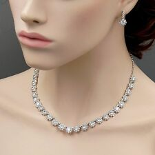 White Gold GP Clear Cubic Zirconia CZ Necklace Pendant Earrings Jewelry Set 9807
