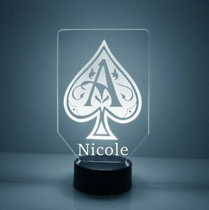 Personalized Ace of Spades Poker LED Night Lamp, FREE Engraved Name, With Remote