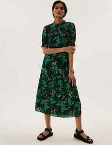 MARKS AND SPENCER FLORAL HIGH NECK SHIRRED MIDI WAISTED DRESS GREEN SIZE 10