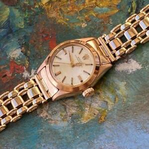 ROLEX OYSTER PERPETUAL 18KT ROSE GOLD 6618 VINTAGE LADIES WATCH 100% GENUINE
