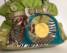 HOT satchel lime multi material handbag rhinestones crocodile pattern FUNKY