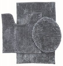 3 Piece Ultra Soft Butter Chenille Bath rug Set Made of 100%Microfiber (Gray)