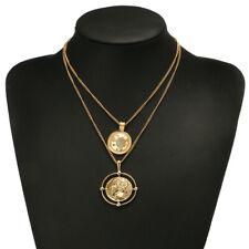 Collana fashion retrò moneta gold per donna stile greco boemia estate doppia