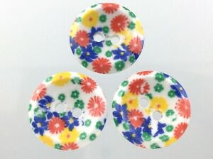 Vintage Lot Of 3 Plastic Multicolor Garment Button Size .75in Floral Design 824C