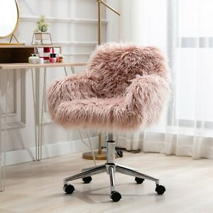 US Modern Faux Fur Home Office Chair fluffy Chair for Girls Makeup Vanity Chair