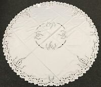 """White Embroidered Peacock Embroidery Tablecloth 60"""" Round Wedding Bridal"""