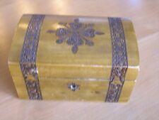 Vintage Pirate Style Chest Shape Pyrography BrassInly Jewelry Vanity Trinket Box