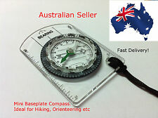 Mini Baseplate Compass with mm & inch Ruler - OZ seller, BONUS LANYARD