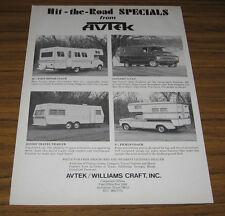 1973 Vintage Ad Avtek Motorhomes, Conversion Vans, Pickup & Travel Trailers