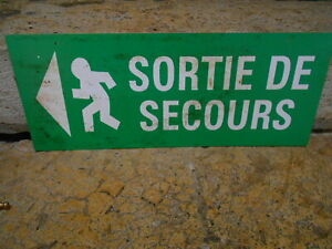 1980s French Plexiglass green Plaque Sign : EMERGENCY EXIT
