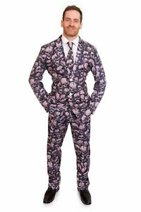 Skull Costume Suit Halloween Stag Stand Out Fancy Dress Mens 3 Piece Outfit New