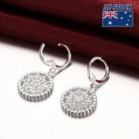 925 Sterling Silver Filled Crystal Filigree Flower Drop Dangle Hoop Earrings