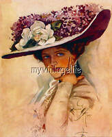 Harrison Fisher Lady with Lovely Lilac Hat Quilting Fabric Block
