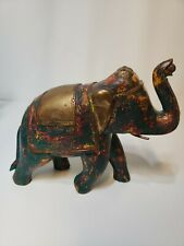 Vintage Carved Wood Elephant Hammered Copper Brass and Bovine Bone Inlay. Green.