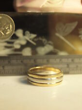 9CT YELLOW/WHITE GOLD MENS 2-TONE WEDDER RING SIZE : Y (US - 12) HALLMARKED 9CT
