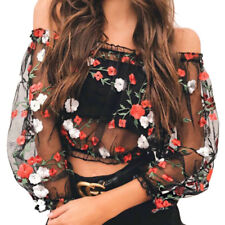 Women Floral Embroidery Mesh Sheer See-through Long Sleeve Crop Top Shirt Blouse