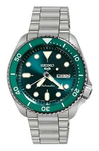 Seiko 5 Sports Automatic Green Dial Date Day Stainless Steel Bracelet SRPD61