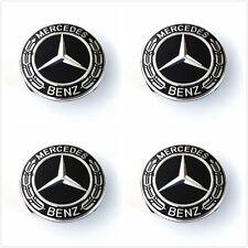 4X MERCEDES BENZ BLACK WREATH WHEEL CENTER CAPS C ML CLS S GL SL  W204 W221 W220