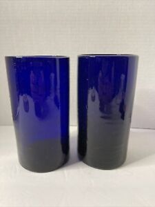 Mexican Hand Blown Glassware Solid Cobalt Blue Tumbler Set Of 2