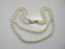 VINTAGE DOUBLE STRAND PEARL NECKLACE GOLD OVER STERLING SILVER CLASP