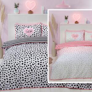 Piped Edge Dalmation Spots Stripes Reversible Duvet Quilt Cover Bedding Set
