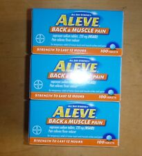 Lot of 3 Aleve Back & Muscle Pain NSAID 12 Hour Tablets 100 Ct 300 Total 05/2021