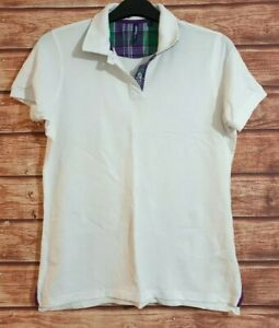 ASQUITH & FOX Women's CHECK Trim Polo Top T-Shirt White Fitted Collared XL 16/18