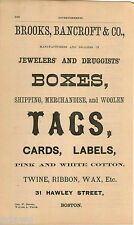 1876 ADVERT Brooks Bancroft & Co Jewelers' Druggists' Boxes Printer Tags Labels