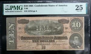 T-68 1864 $10 Ten Dollar CSA Confederate Note  PMG 25 VERY FINE BRIGHT PF-42