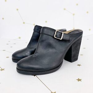 New Frye Mules Size 8.5 Black Leather Patty Slingback Chunky Heel Clogs Western