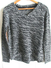XS Womens V-Neck Swing Sweater Elbow Patches Hi Lo Loose Fit Black Marble Knit