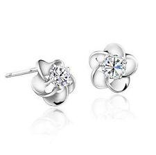 Fashion Women Elegant 925 Silver Plated Crystal Plum Ear Stud Earrings Jewelry