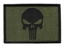 Punisher Skull Olive Green Tactical Military Morale Patch Iron On Parche Bordado
